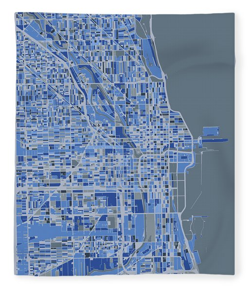 Chicago Map Retro 5 Fleece Blanket
