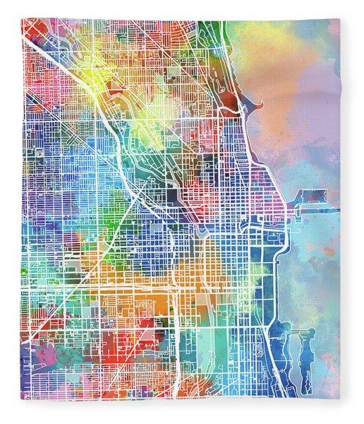 Chicago Map Watercolor Fleece Blanket