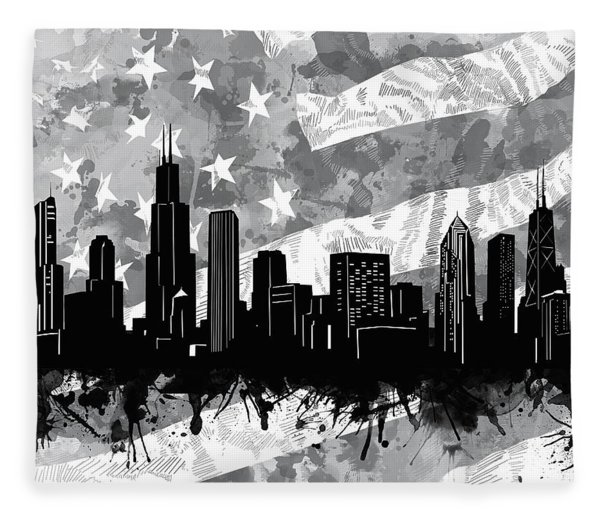 Chicago Skyline Flag Fleece Blanket