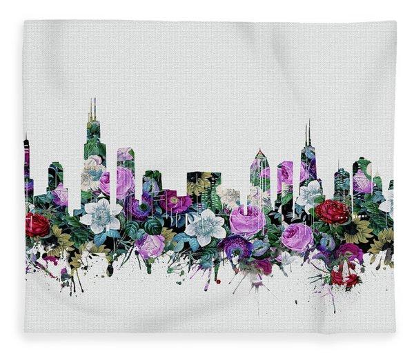 Chicago Skyline Floral Fleece Blanket