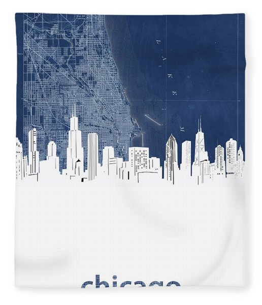 Chicago Skyline Map Blue Fleece Blanket