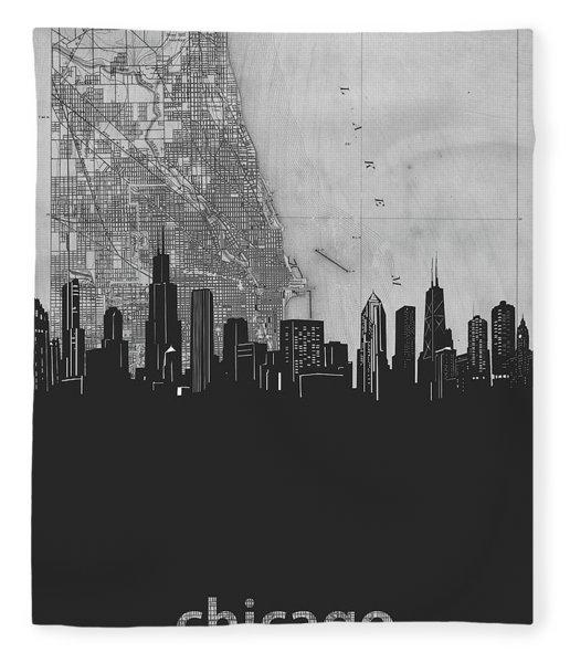 Chicago Skyline Map Grey Fleece Blanket