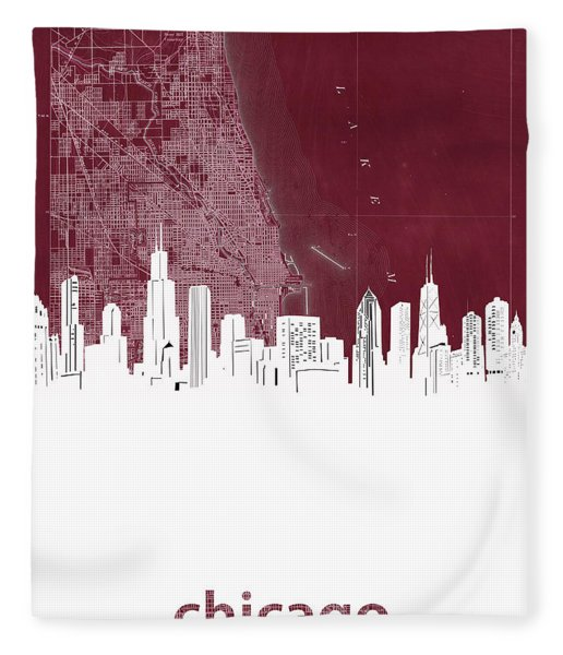 Chicago Skyline Map Red Fleece Blanket