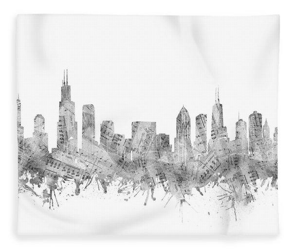 Chicago Skyline Music Notes Fleece Blanket