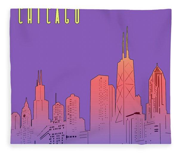 Chicago Skyline Panorama Purple Fleece Blanket