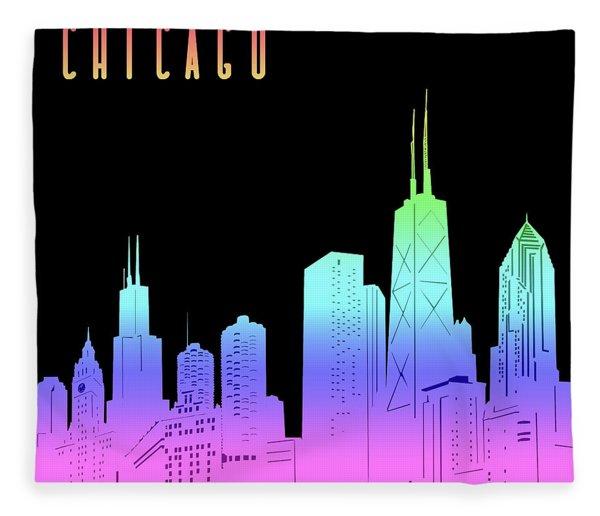 Chicago Skyline Panorama Rainbow Fleece Blanket