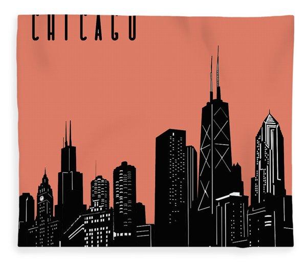 Chicago Skyline Panorama Red Fleece Blanket
