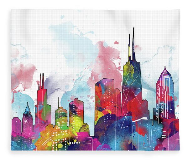 Chicago Skyline Panorama Watercolor 2 Fleece Blanket