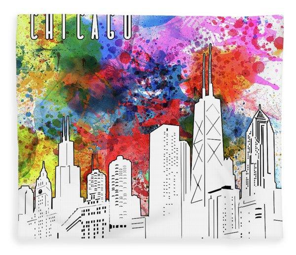 Chicago Skyline Panorama Watercolor Fleece Blanket