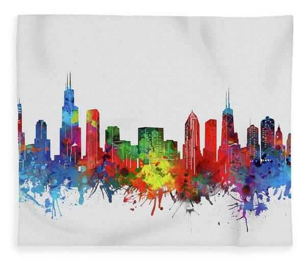 Chicago Skyline Watercolor 2 Fleece Blanket