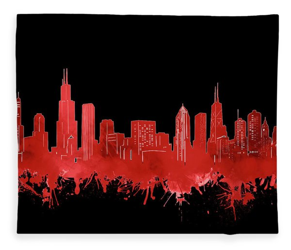 Chicago Skyline Watercolor 5 Fleece Blanket