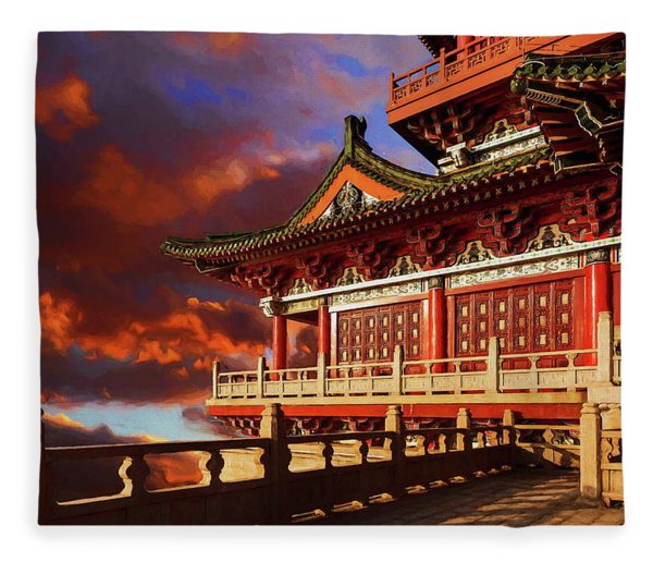 China Temple At Sunrise Fleece Blanket