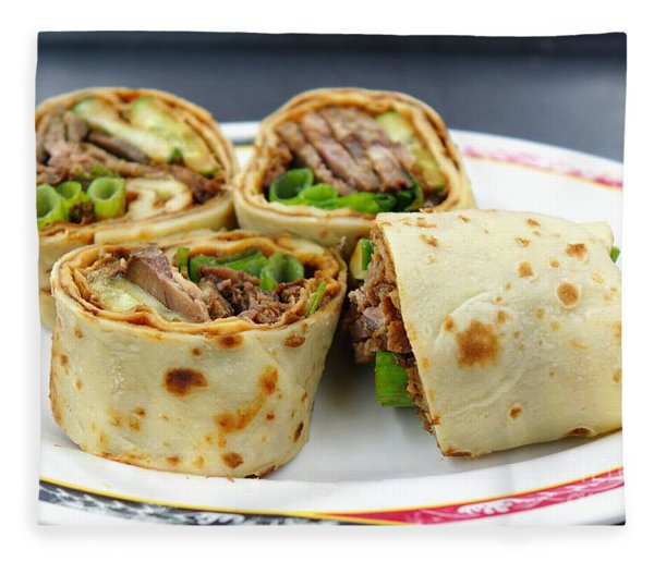 Chinese Pancake Roll With Cooked Beef Fleece Blanket