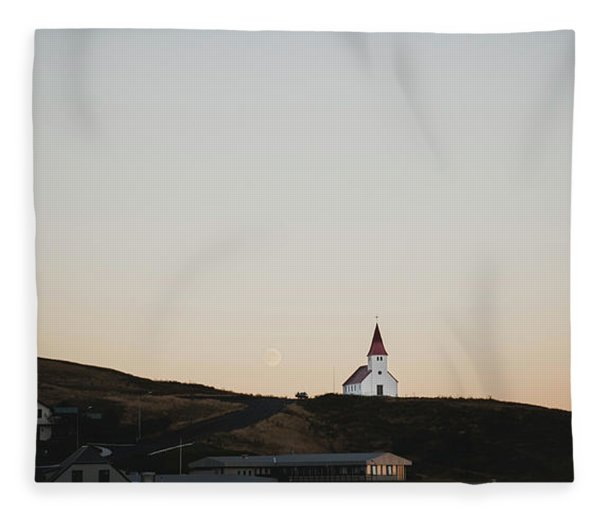 Church On Top Of A Hill And Under A Mountain, With The Moon In The Background. Fleece Blanket