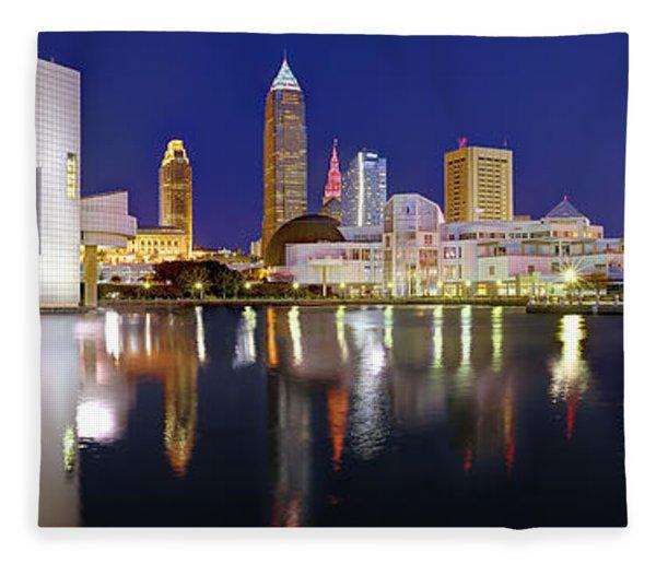 Cleveland Skyline At Dusk Rock Roll Hall Fame Fleece Blanket