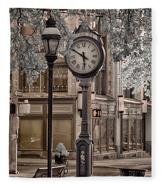 Clock On Street Fleece Blanket