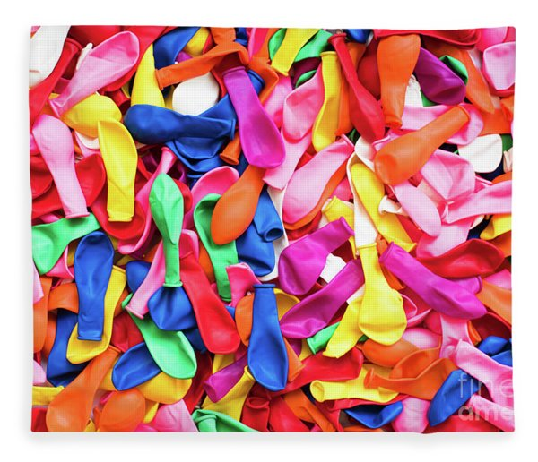 Close-up Of Many Colorful Children's Balloons, Background For Mo Fleece Blanket