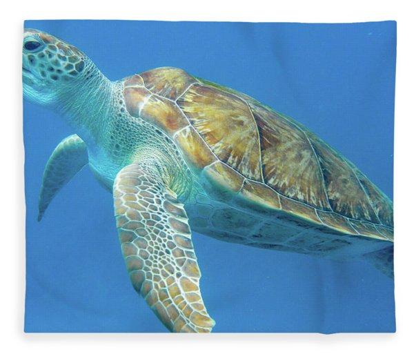 Close Up Sea Turtle Fleece Blanket