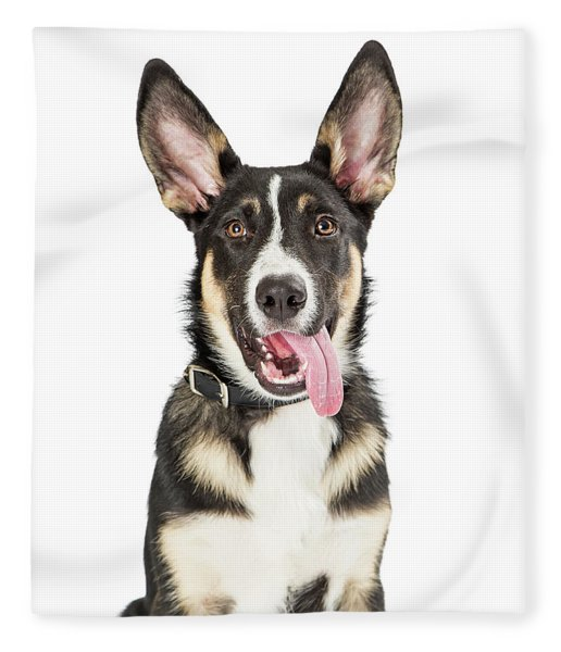 Closeup Cute Puppy Tongue Hanging Out Fleece Blanket