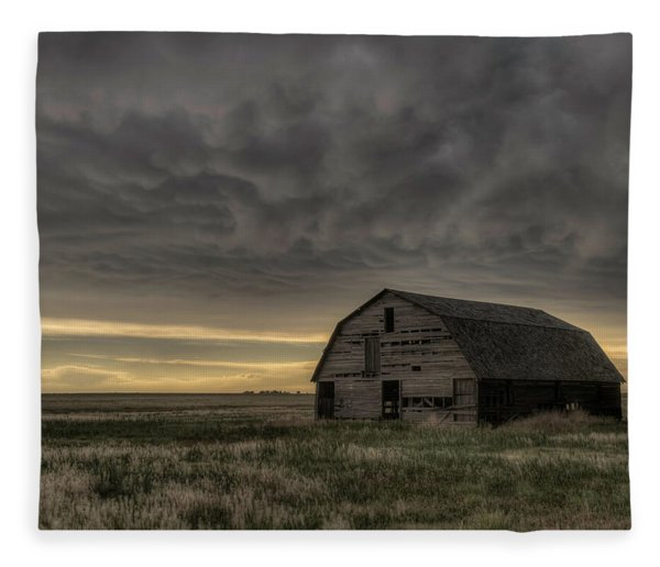Clouds And Barn Fleece Blanket