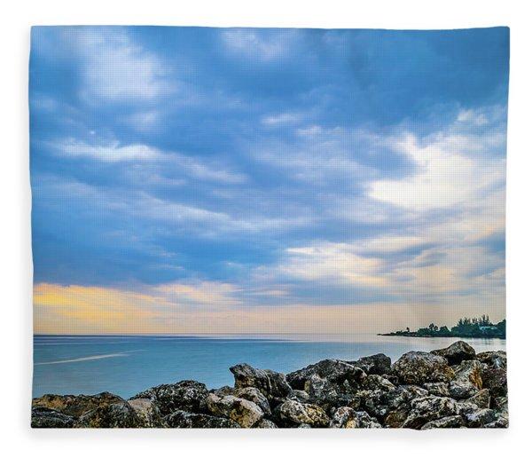 Cloudy City Coastline Fleece Blanket