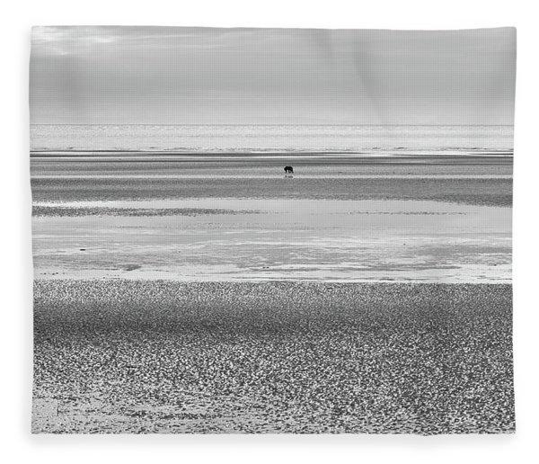 Coastal Brown Bear On  A Beach In Monochrome Fleece Blanket