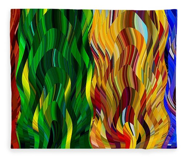 Colored Fire Fleece Blanket