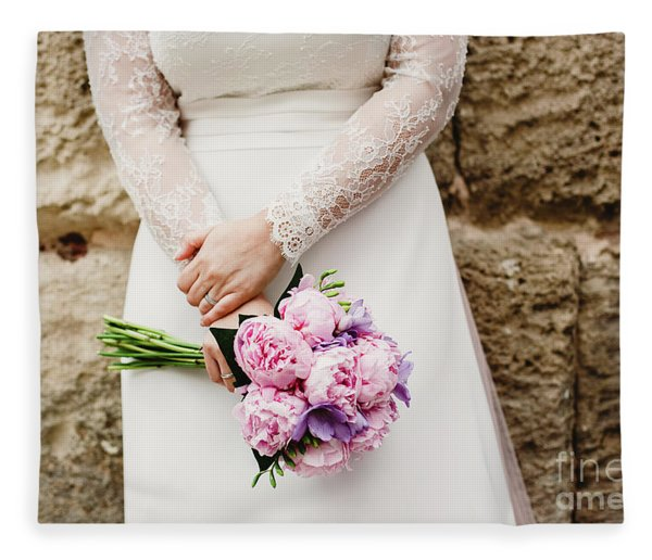 Colorful Bridal Bouquets With Flowers Fleece Blanket
