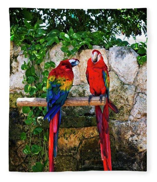 Colorful Parrots Fleece Blanket