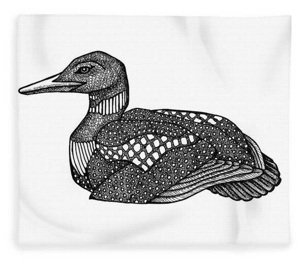 Fleece Blanket featuring the drawing Common Loon by Amy E Fraser