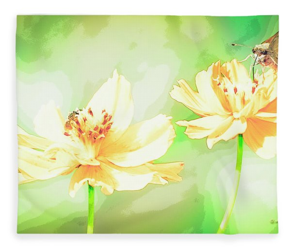 Cosmos Flowers, Bud, Butterfly, Digital Painting Fleece Blanket