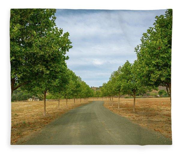 Country Lane To Vineyard Fleece Blanket