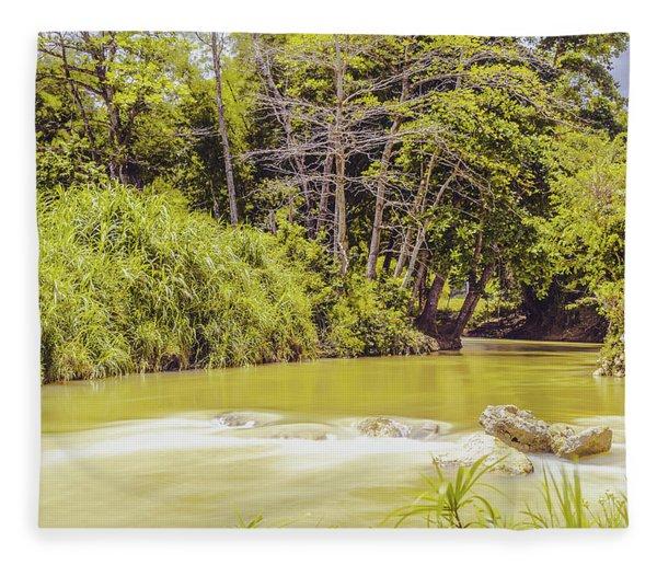 Country River In Trelawny Jamaica Fleece Blanket