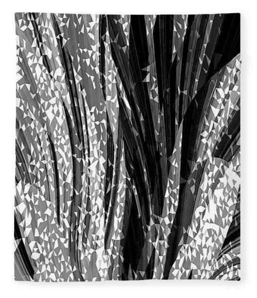 Crystal Floral Black Opposite Fleece Blanket