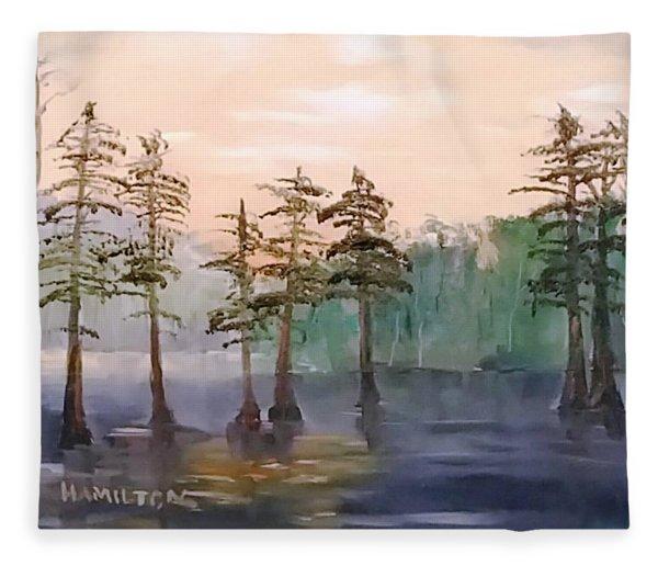 Cypress Trees Fleece Blanket