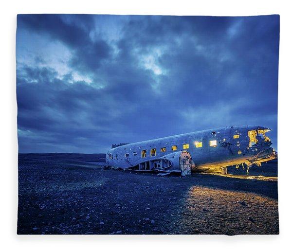 Dc-3 Plane Wreck Illuminated Night Iceland Fleece Blanket
