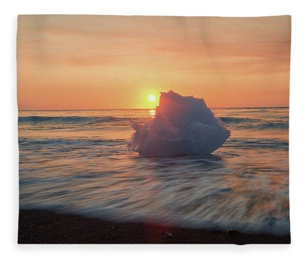 Diamond Beach Sunrise Iceland Fleece Blanket