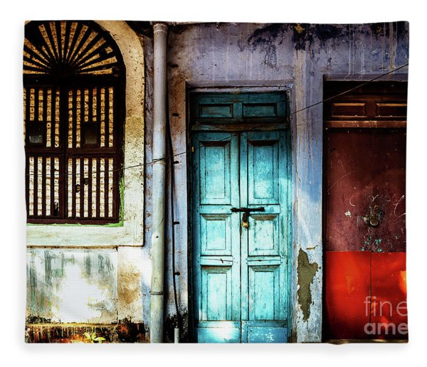 Doors Of India - Blue Door And Red Door Fleece Blanket