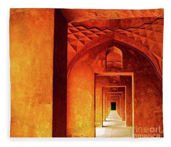 Doors Of India - Taj Mahal Fleece Blanket