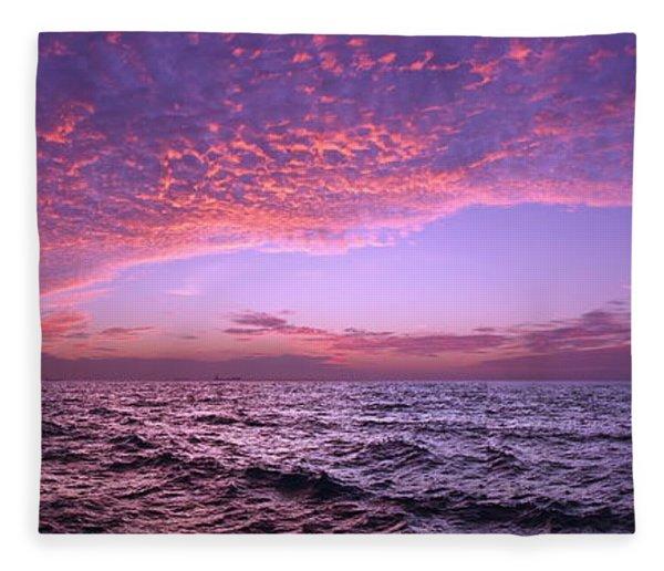 Dramatic Ocean And Sky Scene After Sunset Fleece Blanket