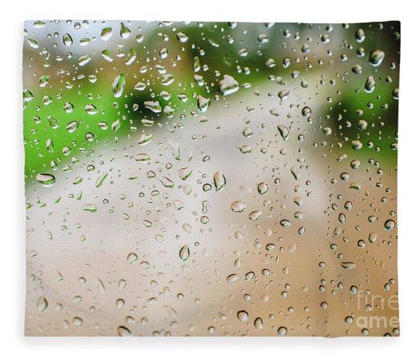 Drops Of Rain On An Autumn Day On A Glass. Fleece Blanket