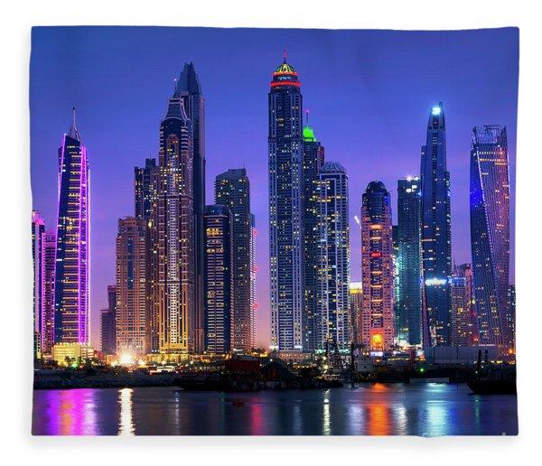 Dubai Marina Skyline At Night Fleece Blanket