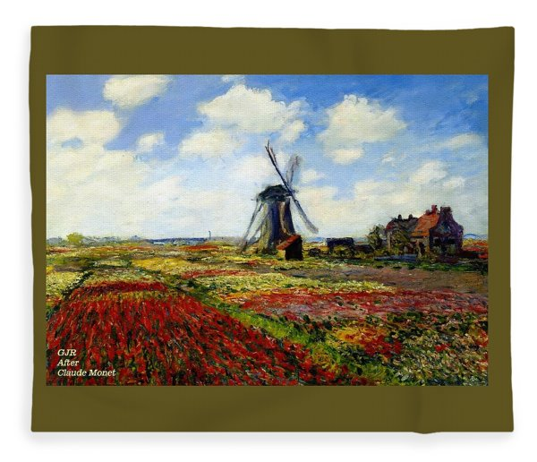 Dutch Windmill And Tulip Field - After The Style, Manner And Painting By Claude Monet L A S Fleece Blanket