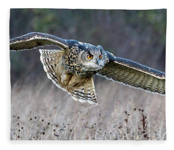 Eagle Owl Gliding Fleece Blanket