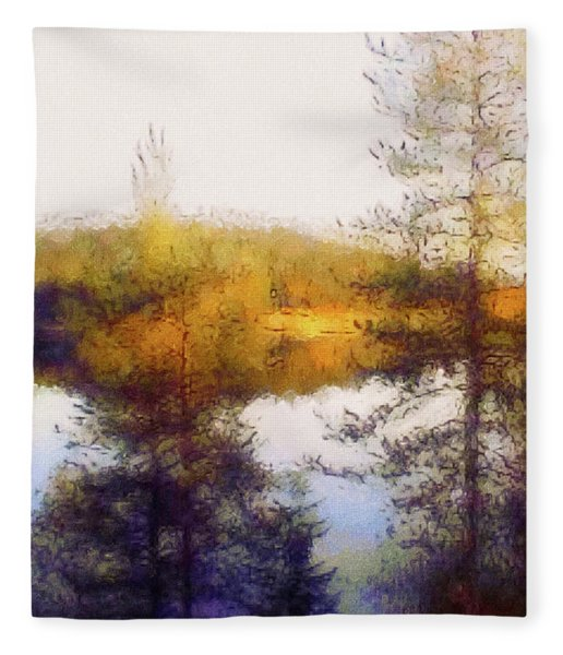 Fleece Blanket featuring the mixed media Early Autumn In Finland by Susan Maxwell Schmidt