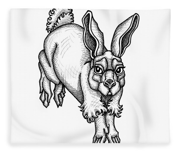 Fleece Blanket featuring the drawing Eastern Cottontail by Amy E Fraser