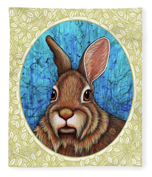 Fleece Blanket featuring the painting Eastern Cottontail Portrait - Cream Border by Amy E Fraser