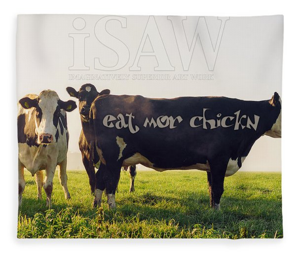 Fleece Blanket featuring the digital art Eat Mor Chickn by ISAW Company