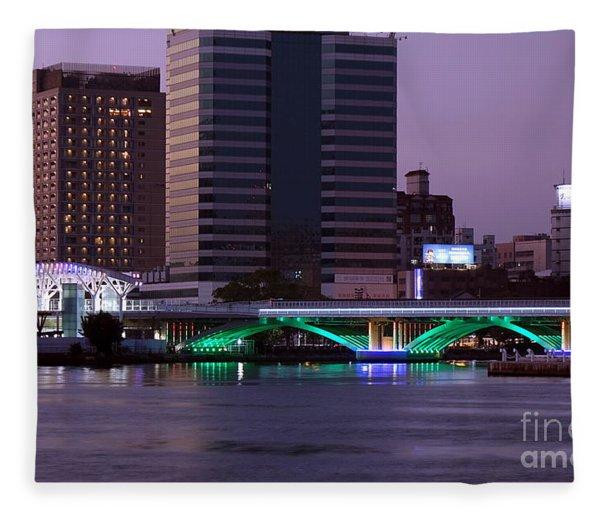 Evening View Of The Love River And Illuminated Bridge Fleece Blanket