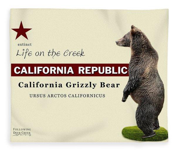 Extinct California Grizzly Bear Fleece Blanket